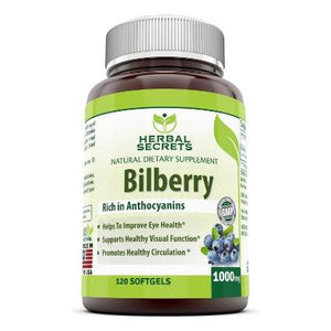 Herbal Secrets Bilberry Fruits - 1000Mg, 120 Softgels - Amazing Nutrition