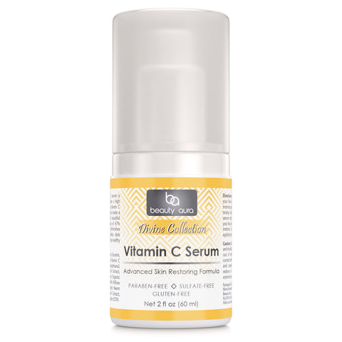 Beauty Aura Vitamin C Facial Serum - 2 Oz. Bottle - Hydrates, Brightens, Fade Age Spots & Wrinkles - 67% Organic Ingredients- Paraben Free, Sulfate Free, Gluten Free