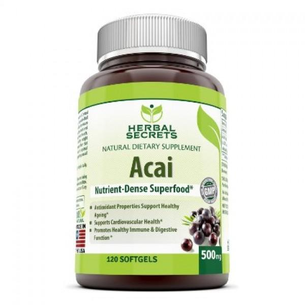 Herbal Secrets Acai - 500 Mg, 120 Softgels - Amazing Nutrition