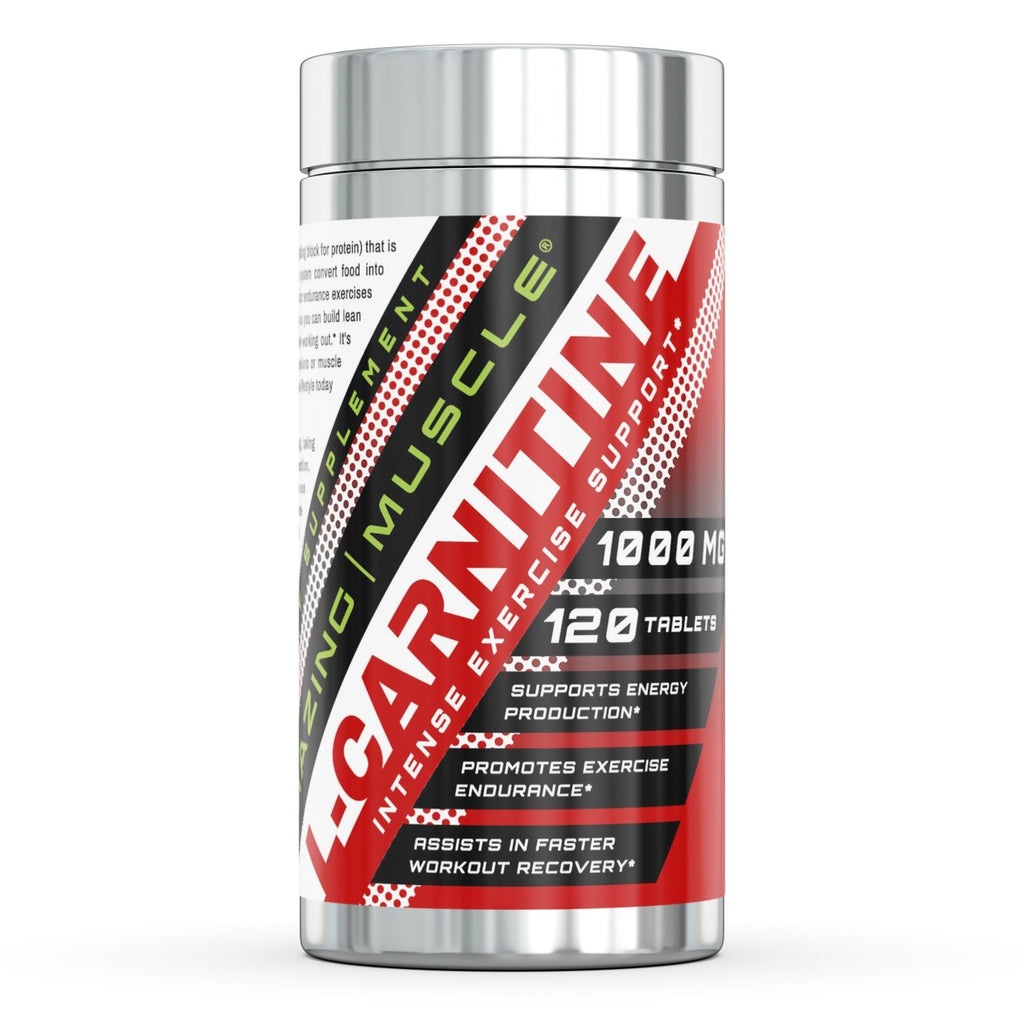 Amazing Muscle L-Carnitine - 1000 Mg, 120 Tablets - Intense Exercise Support - Supports Energy Production - Promotes Exercise Endurance - Assists in Faster Workout Recovery
