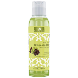 Beauty Aura Grapeseed Oil - 4 fl oz (118 ml) - for Healthy Hair, Skin & Nails.
