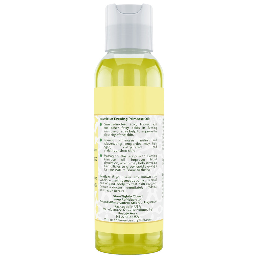 Beauty Aura Evening Primrose (Cold Pressed) - 4 fl oz - for Healthy Hair, Skin & Nails.