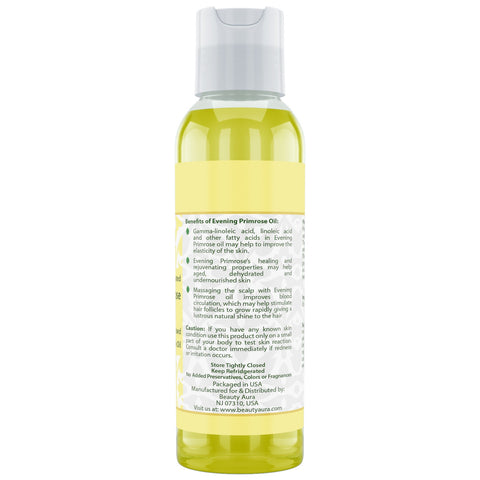 Image of Beauty Aura Evening Primrose (Cold Pressed) - 4 fl oz - for Healthy Hair, Skin & Nails.