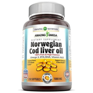 Amazing Omega Norwegian Cod Liver Oil 1000 Mg, (Orange, 250 Softgels) (Non-Gmo,Gluten Free)