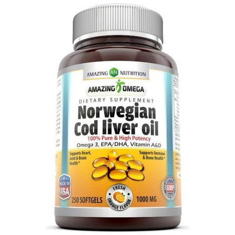 Amazing Omega Norwegian Cod Liver Oil 1000 Mg 250 Softgels Fresh Orange Flavor