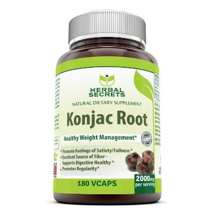 Image of Herbal Secrets Konjac Root - 2000 Mg, 180 Vegi Capsules - Amazing Nutrition