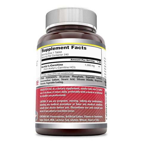 Image of Amazing Formulas Acetyl L Carnitine 1000 Mg 240 Tablets