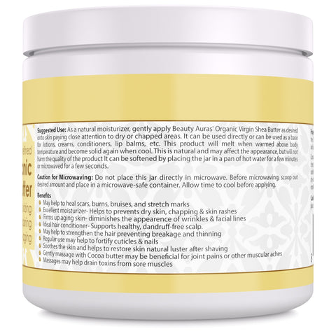 Image of Beauty Aura Organic Cocoa Butter (16 Fl Oz) - Helps Deep Moisturizing, Healing, Repairing and Anti-Aging.