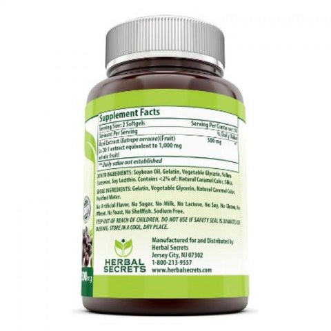 Image of Herbal Secrets Acai - 500 Mg, 120 Softgels - Amazing Nutrition