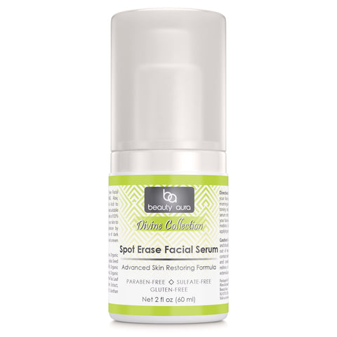 Beauty Aura Divine Collection Spot Erase Facial Serum 2 Fl Oz (60 ml) - Packed with antioxidants, DMAE and Hyaluronic Acid