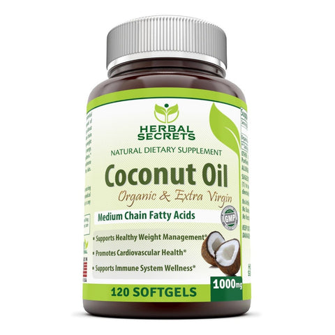 Image of Herbal Secrets Organic & Extra Virgin Coconut Oil 1000 Mg 120 Softgels - Amazing Nutrition