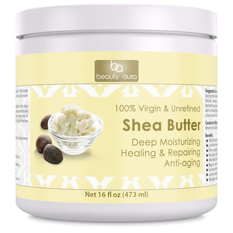 Image of Beauty Aura Organic Shea Butter 16 Fl Oz