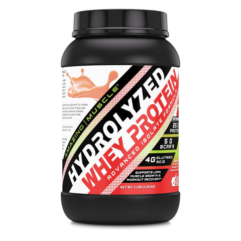 Amazing Muscle Hydrolyzed Whey Protein Isolate with Natural Flavor & Sweetner - 3Lb (Strawberry Flavor)