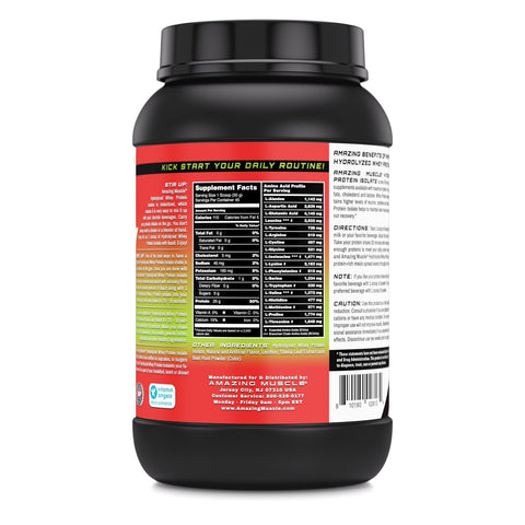Image of Amazing Muscle Hydrolyzed Whey Protein Isolate with Natural Flavor & Sweetner 3Lb (Strawberry Flavor)