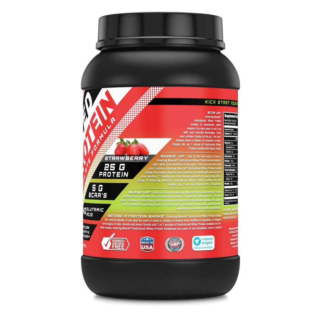 Amazing Muscle Hydrolyzed Whey Protein Isolate with Natural Flavor & Sweetner 3Lb Strawberry Flavor