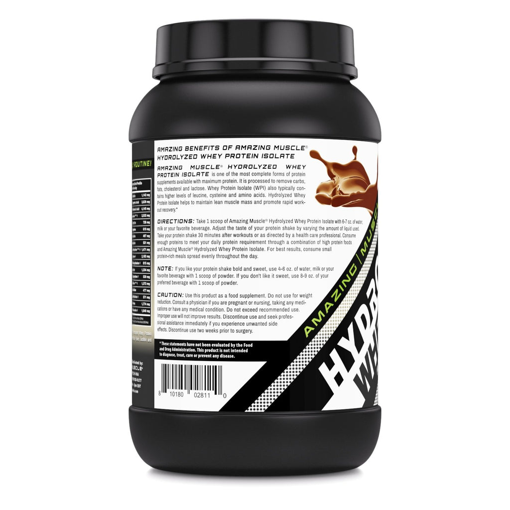 Amazing Muscle Hydrolyzed Whey Protein Isolate with Natural Flavor & Sweetner - 3Lb (Cookie & Cream Flavor)