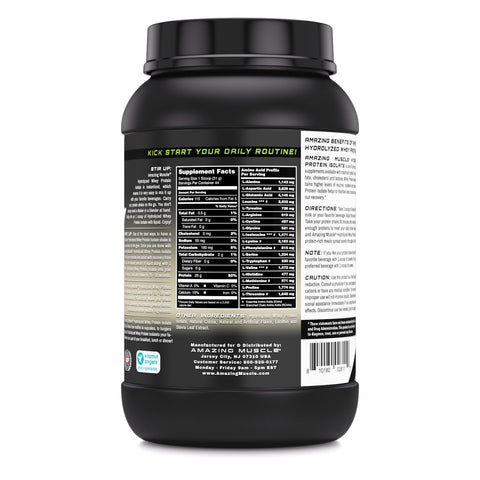 Image of Amazing Muscle Hydrolyzed Whey Protein Isolate with Natural Flavor & Sweetner - 3Lb (Cookie & Cream Flavor)