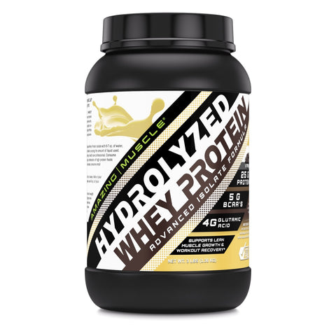 Image of Amazing Muscle Hydrolyzed Whey Protein Isolate with Natural Flavor & Sweetner - 3Lb (Vanilla Flavor)