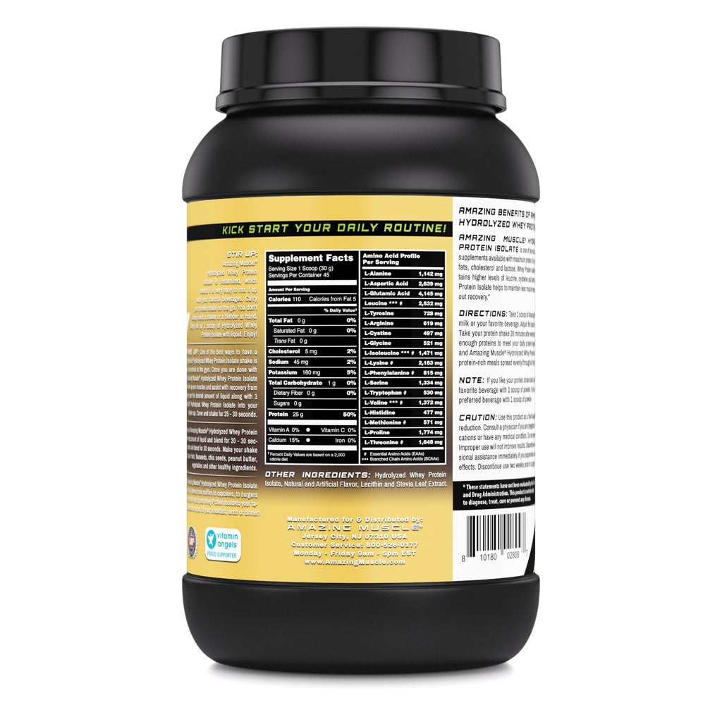 Amazing Muscle Hydrolyzed Whey Protein Isolate with Natural Flavor & Sweetner - 3Lb (Vanilla Flavor)