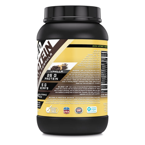Image of Amazing Muscle Hydrolyzed Whey Protein Isolate with Natural Flavor & Sweetner 3 Lbs (Vanilla Flavor)