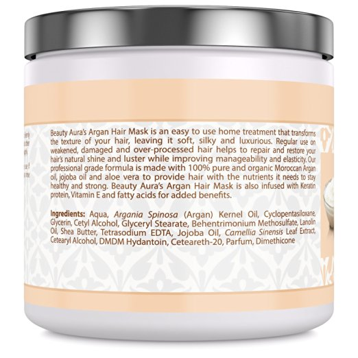 Beauty Aura Argan Hair Mask - 250 Grams (8.8 fl oz)- 100% Natural, Paraben & Sulphate Free - with Organic Moroccan Argan Oil, Jojoba Oil, Aloe Vera & Keratin - Repairs, Hydrates & Protects Dry,