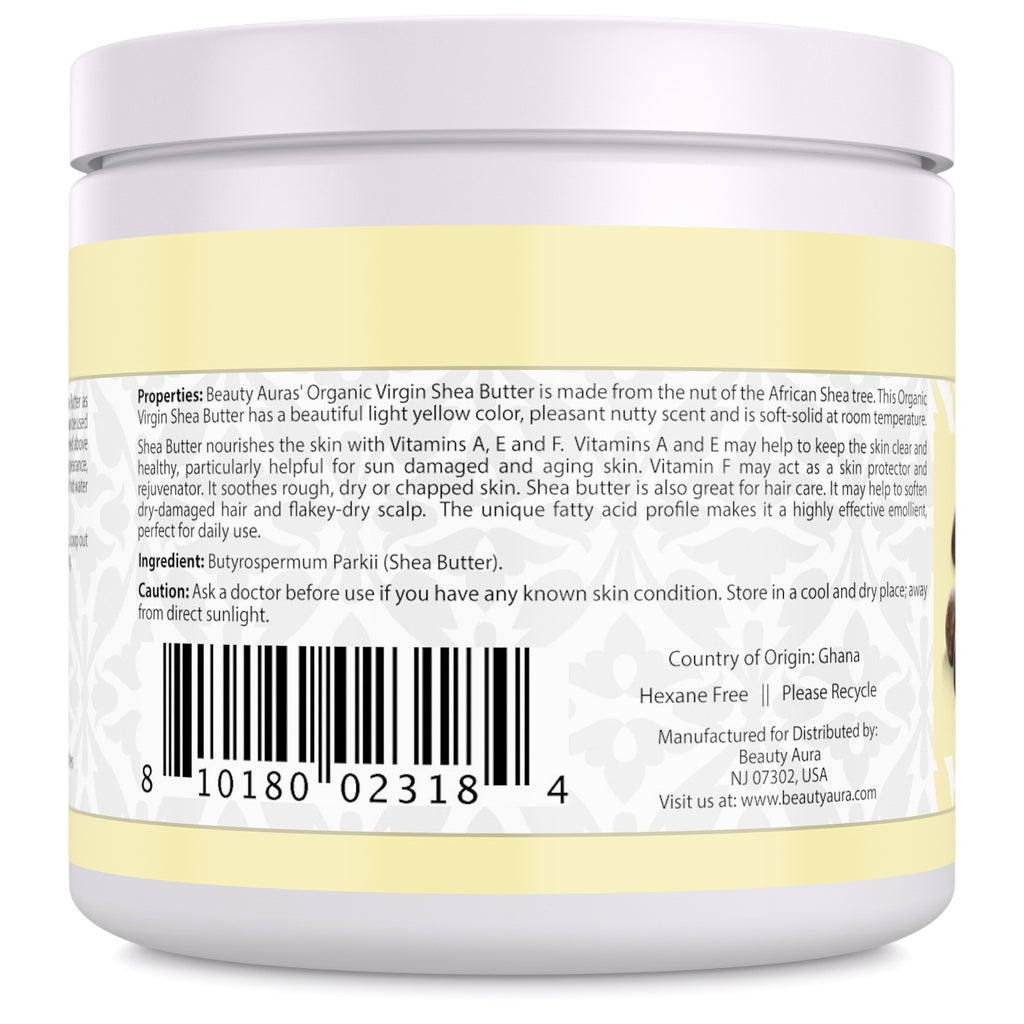 Beauty Aura Organic Shea Butter 16 Fl Oz
