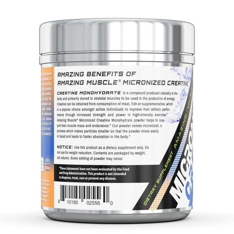 Image of Amazing Muscle Micronized Creatine Monohydrate – 1 lb (453.5 Grams) - 5000 mg Unflavored  Micronized Creatine per Serving – Approx. 454 Servings- Ideal Pre & Post Workout Supplement support athletic performance & develop lean muscle mass*