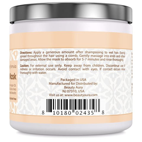 Image of Beauty Aura Argan Hair Mask - 250 Grams (8.8 fl oz)- 100% Natural, Paraben & Sulphate Free - with Organic Moroccan Argan Oil, Jojoba Oil, Aloe Vera & Keratin - Repairs, Hydrates & Protects Dry,