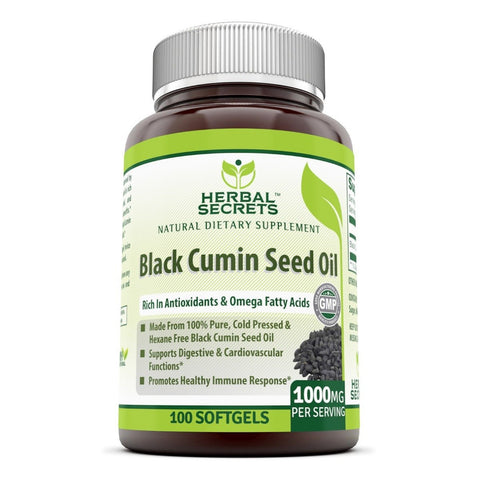 Image of Herbal Secrets 100% Pure Black Cumin Seed oil 1000 Mg 100 Softgels - Amazing Nutrition