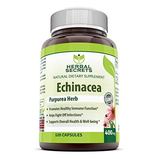 Herbal Secrets Echinacea Supplement - 400 Mg, 120 Capsules - Amazing Nutrition