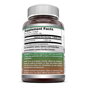 Amazing Formulas Coconut Oil 1000 Mg 180 Softgels
