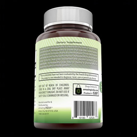 Image of Amazing India Ashwagandha 500 Mg 120 Veggie Capsules