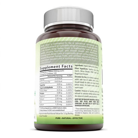 Image of Amazing India Barley Grass Super Green Food 500 Mg 250 Tablets