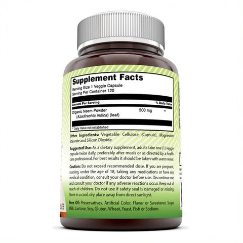 Image of Amazing India Organic Neem 500 Mg 120 Veggie Capsules