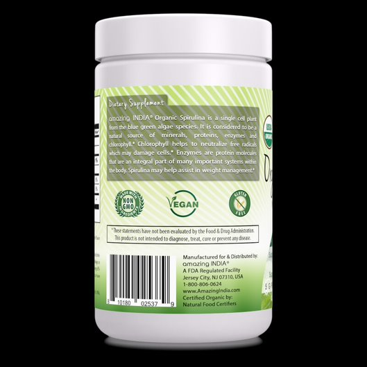 Amazing India Organic Spirulina Powder (Non-GMO) 16 oz (454 gm)