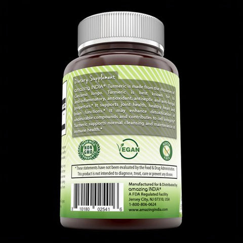 Image of Amazing India Turmeric (Made with Organic Turmeric) 500 mg, 120 Veggie Capsules