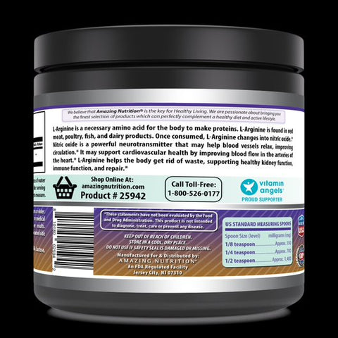Image of Amazing Nutrition Amazing Formulas L-Arginine 1 lb- (Approx. 454 Servings) Essential Amino Acid Powde Unflavored – 1g Per Serving - Workout Muscle Recovery Supplement Improve Strength, Power And Muscle Growth