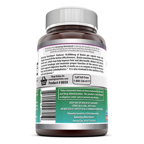 Amazing Formulas Biotin Made with Coconut Oil Dietary Supplement 10,000mcg 120 Softgels