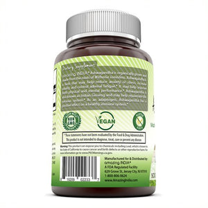 Amazing India Ashwagandha Extract 500 Mg 250 Veggie Capsules
