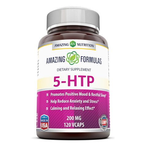 Image of Amazing Formulas 5 HTP Supplement 200 Mg 120 Veggie Capsules - Amazing Nutrition