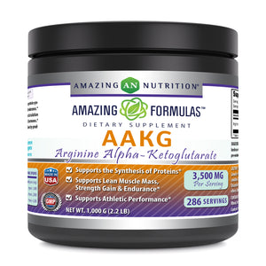 Amazing Nutrition Amazing Formula(1 kg) Powder  2.2 Lbs Arginine Alpha Ketoglutarate (AAKG) Dietary Supplement (Approx. 200 Servings.) (Non-GMO,Gluten Free) Supports Athletic Performance, Protein Synthesis, Lean Muscle Mass, Strength Gain Endurance