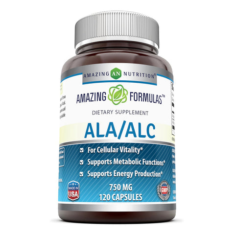 Image of Amazing Formulas ALA / ALC Dietary Supplement 750 Mg 120 Capsules - Amazing Nutrition
