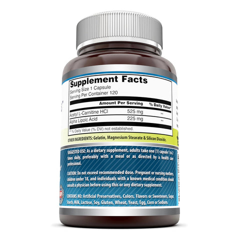 Image of Amazing Formulas ALA / ALC Dietary Supplement 750 Mg 120 Capsules