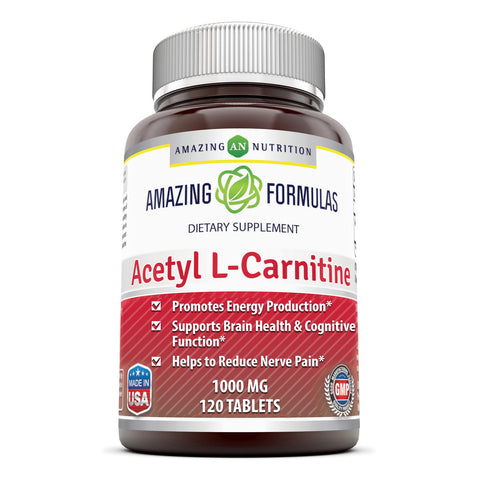 Image of Amazing Formulas Acetyl L Carnitine 1000 Mg 120 Tablets - Amazing Nutrition