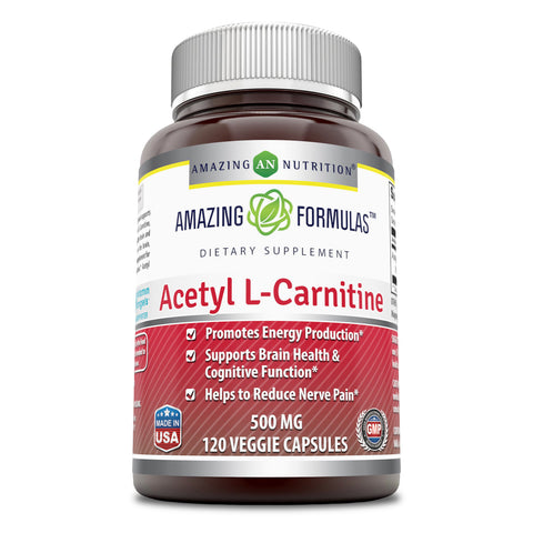 Image of Amazing Formulas Acetyl L Carnitine 500 Mg 120 Veggie Capsules