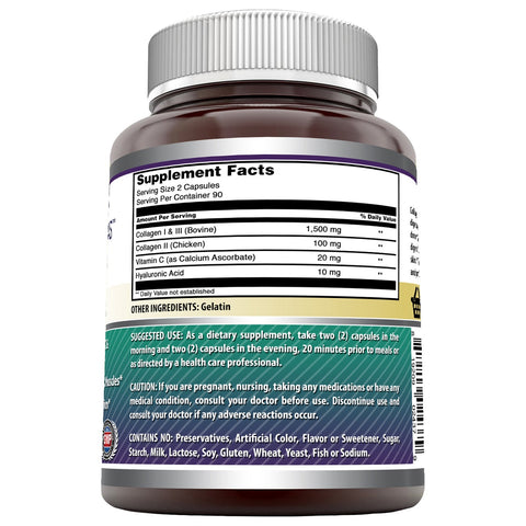 Amazing Formulas Advanced Collagen 1500 mg Per Serving 180 Capsules (Non-GMO,Gluten Free) Collagen Type I, II & III with Vitamin C & Hyaluronic Acid* -Supports Healthy Joints, Hair & Bones*