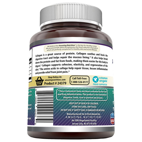 Image of Amazing Formulas Advanced Collagen 1500 mg Per Serving 180 Capsules (Non-GMO,Gluten Free) Collagen Type I, II & III with Vitamin C & Hyaluronic Acid* -Supports Healthy Joints, Hair & Bones*