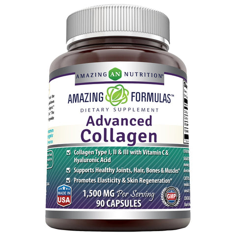 Amazing Formulas Advanced Collagen 1500 mg Per Serving 90 Capsules (Non-GMO,Gluten Free) Collagen Type I, II & III with Vitamin C & Hyaluronic Acid* -Supports Healthy Joints, Hair & Bones*