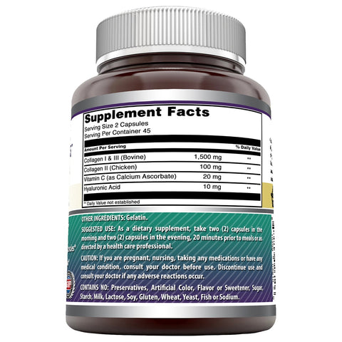 Image of Amazing Formulas Advanced Collagen 1500 mg Per Serving 90 Capsules (Non-GMO,Gluten Free) Collagen Type I, II & III with Vitamin C & Hyaluronic Acid* -Supports Healthy Joints, Hair & Bones*
