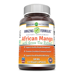 Amazing Formulas - African Mango with Green Tea Extract Dietary Supplement 500 Milligrams 120 Capsules